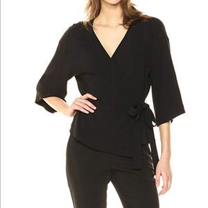 Theory 3/4 sleeve Elevated Wrap top
